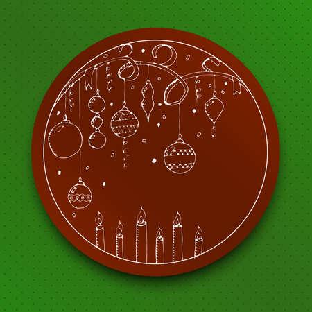 moños navideños: tarjeta de felicitación de Navidad y Año Nuevo del vector con las decoraciones de Navidad, velas y cintas