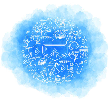 Diving icons set with fish and equipment. Vector Illustration