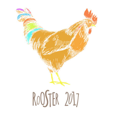 Rooster. Cock Illustration in Vintage hand drawn style. Grunge label, sticker for the farms and manufacturing depicting roster. Grunge label for the chicken product. Symbol of 2017 New Year. Vector illustration