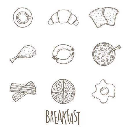 snag: Breakfest hand drawn icon set over white background. Doodle illustration