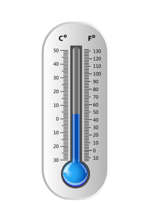 celsius: Celsius and Fahrenheit Thermometer white. Vector illustration. Illustration