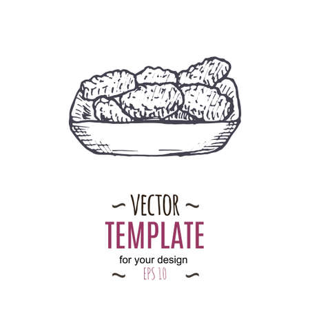 Vector uitstekende nuggets tekenen. Hand getrokken monochroom fast food illustratie. Groot voor het menu, poster of etiket.