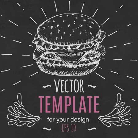 food: Fast food menu design template hand drawn vector Illustration