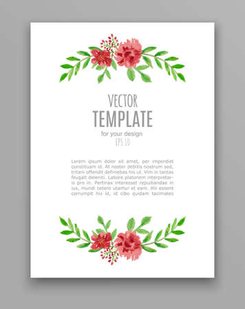 marcos decorativos: Watercolor wedding invitation design with flower Vectores