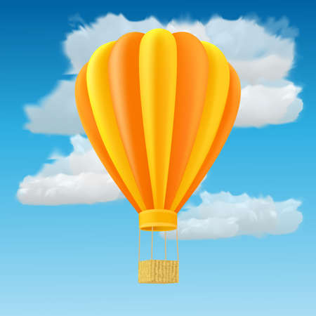 inflate: Yellow and orange air ballon with basket
