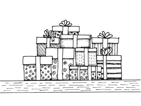 Hand - drawn pile of gifts on white background Illustration