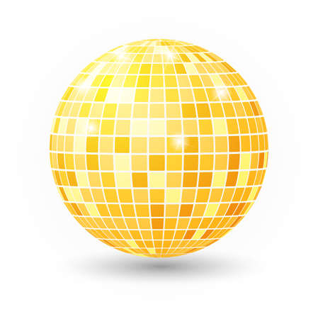 party club: Disco ball isolated illustration. Night Club party light element. Bright mirror golden ball design for disco dance club. Illustration