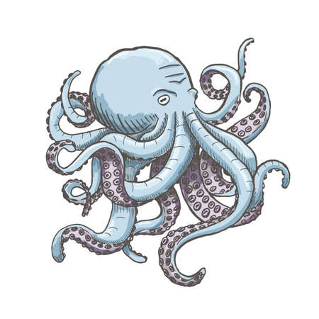 monstrous: Octopus. Vector vintage illustrations. Isolated on white background. Illustration