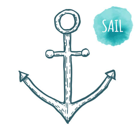 anchored: anchor drawing on white background. Hand drawn illustration. Illustration