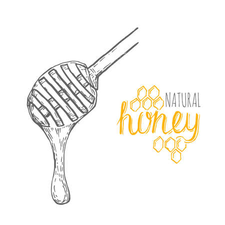 beeswax: Hand drawn honey stick over white background