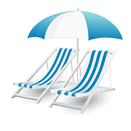 Chair and beach umbrella isolated Stock Photo