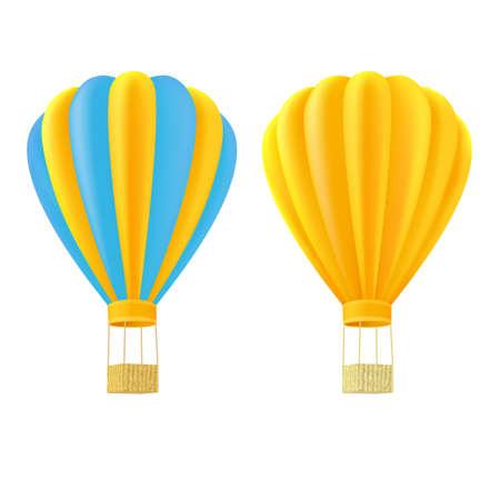 Yellow and orange air ballon with basket
