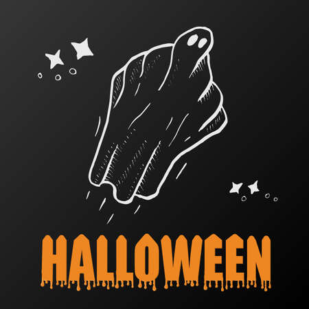 autumn background: ghosts for Halloween on black background. cute ghosts characters. vector illustration