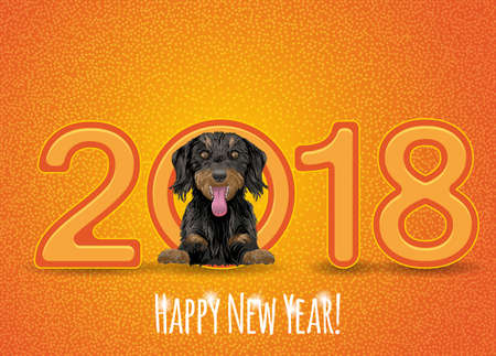 chinese astrology: Flyer with the numbers 2018 and a happy dog symbol 2018 year on Chinese calendar. Illustration