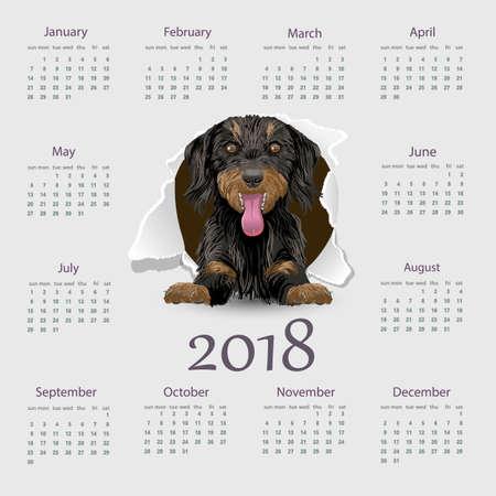 event planner: Calendar 2018 year vector design template.