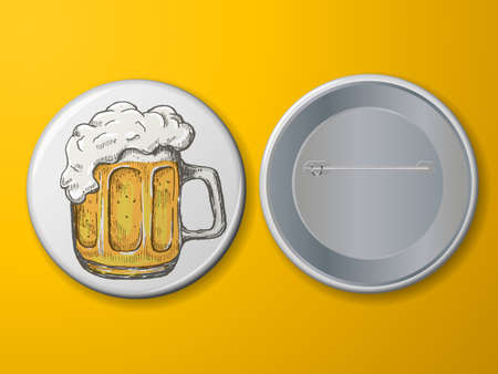 Blank vector white badge with beer mug. Иллюстрация