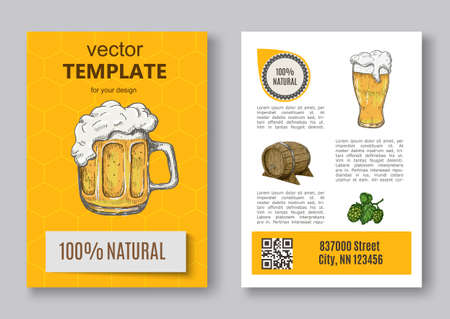 Poster of hop plant, wood barrel and beer mugs Иллюстрация