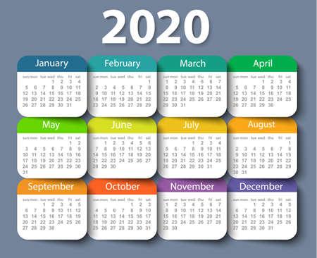 Calendar 2020 year vector design template. Week starting on Sunday