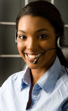 customer service representative: Happy and friendly customer service representative