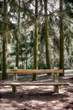 bench alone: Bench in the forest, illustration