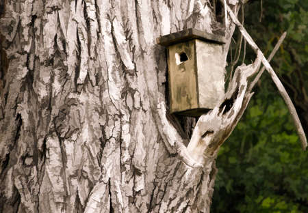 aviary: Birdhouse in graphic style
