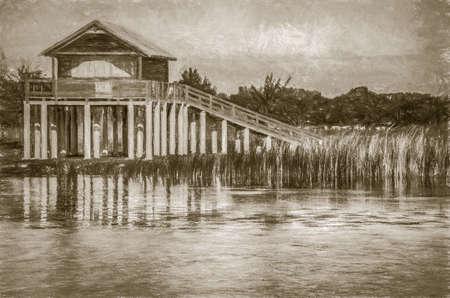 dwelling: stilt house illustration Stock Photo