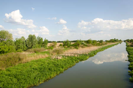 inland waterways: East Main Canal at Tiszavasvari, Hungary. It is one of the Canals of the river Tisza. Stock Photo
