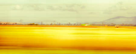 rapidity: View from the speeding car. blurred landscape. Slow shutter speed.