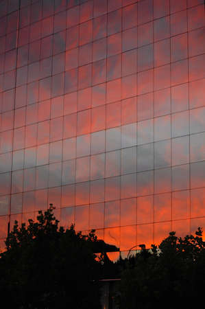downtown Santiago Chile sunset reflection on World Trade Center building