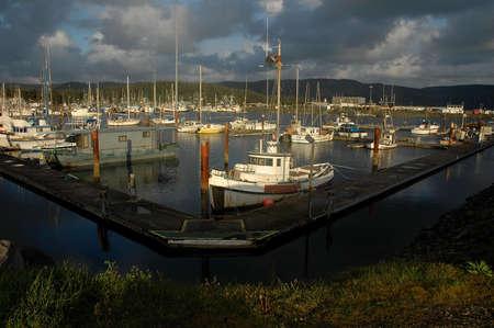 fishing boats docked in Crescent City California harbor Stock Photo - 3278344