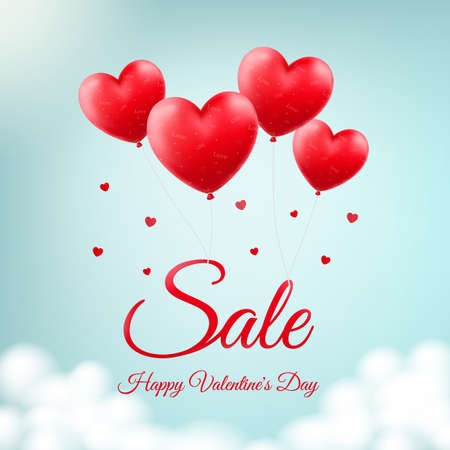 Vector design for St. Valentine's Day. Heart-shaped red balloons in the sky as background for season sale and discounts