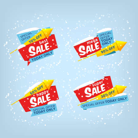 Super Sale, mega sale, happy sale, best sale. Winter set vector banners. Tags with a rocket. Geometric winter labels for a shop. Stock illustration.