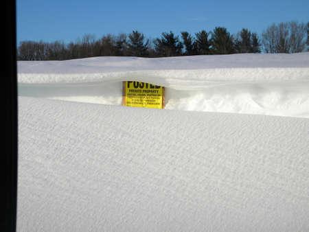 Snow Drifted Sign Stok Fotoğraf