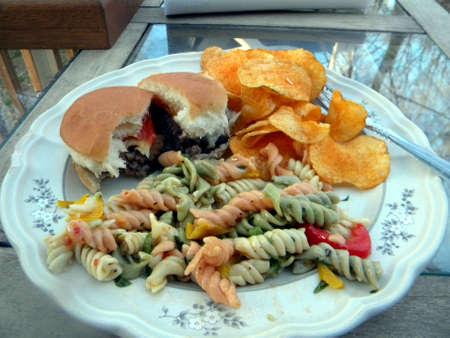 Backyard BBQ Sample Plate Food Stock Photo