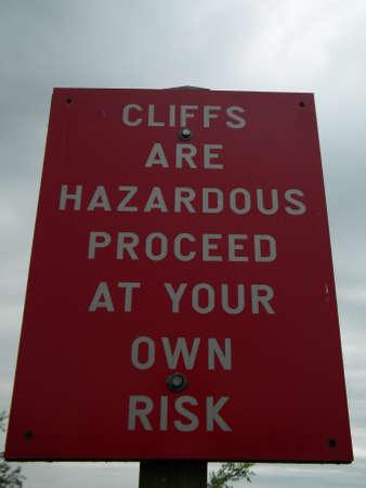 Hazardous Cliff Sign