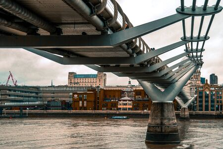 The underside of the famous London Millennium Footbridge in England