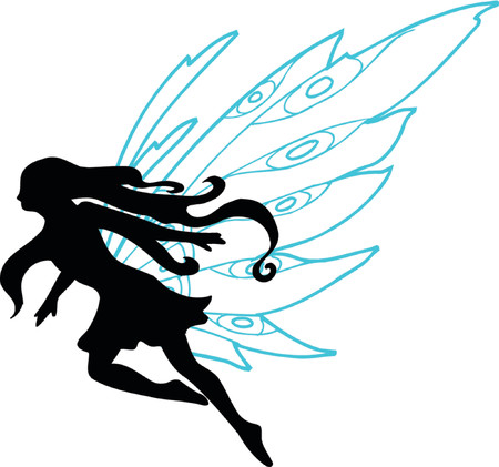 Fairy Vector Silhouette Illustration Vector