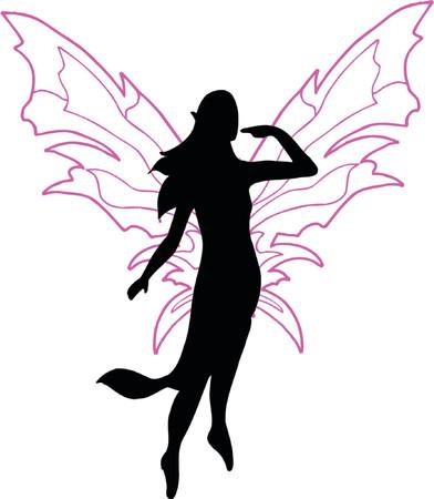 elegance silhouette: Fairy Vector Silhouette Illustration Illustration