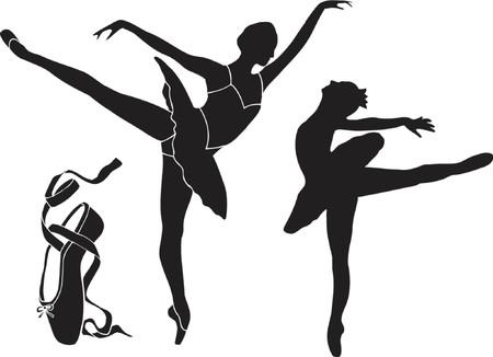 diadem: Ballet Silhouette Vector Illustration