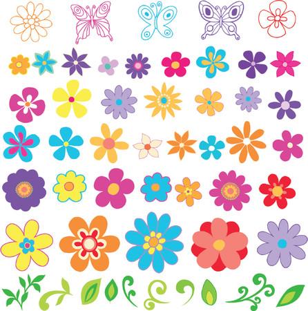 Flowers Vector Design Elements Illustration Vettoriali