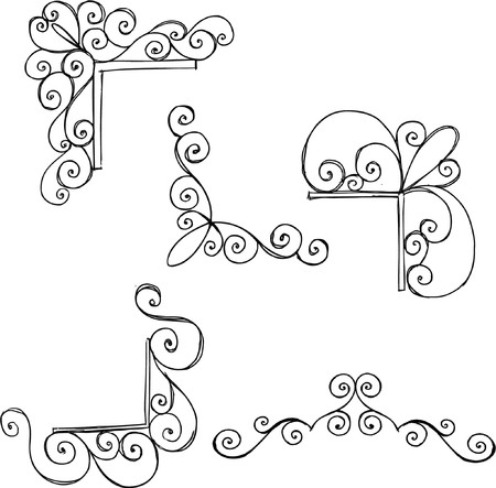 Scroll Corner Frames Vector Illustration