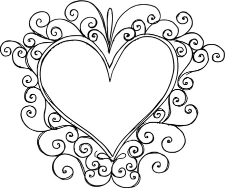 Swirly Heart Frame Vector Illustration