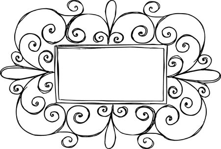 Swirly Rectangle Frame Vector Illustration Illustration