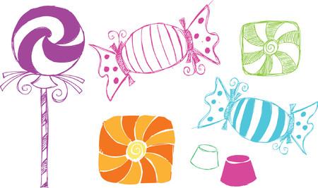 Candy Sketchy Style Vector Illustration Ilustração