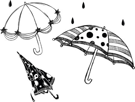 Rainy Day Umbrellas Sketchy Style Vector Illustration