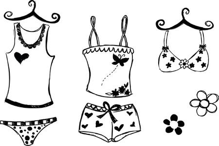 Lingerie Sketchy Style Vector Illustration Stock Illustratie