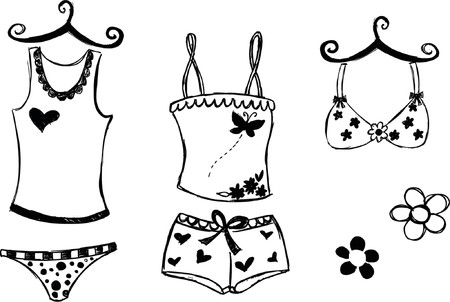 Lingerie Sketchy Style Vector Illustration 向量圖像