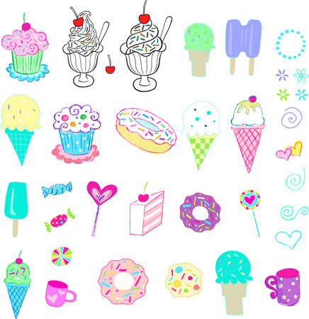 jellybean: Candy and Ice Cream set Vector Illustration