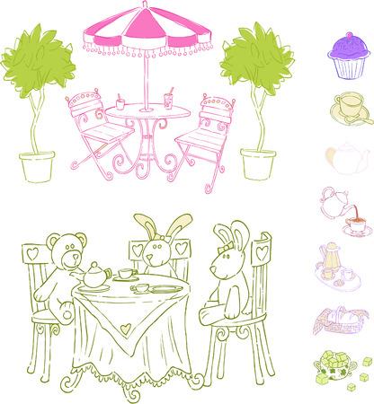 Cafe Set Vector Illustration Reklamní fotografie - 3072080