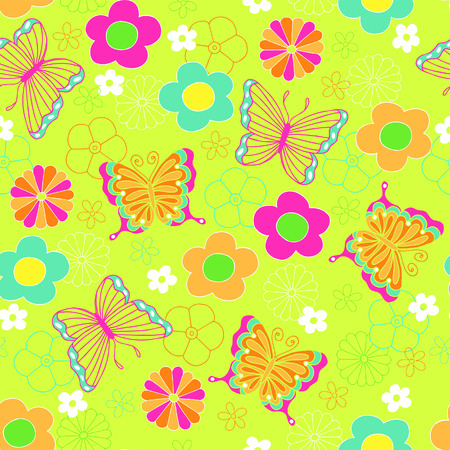 ornaments vector: Butterflies and Flowers Seamless Repeat Pattern